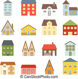 Vector house icons set, flat design