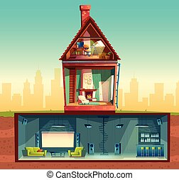 Vector house in cross section, basement, attic - Vector...