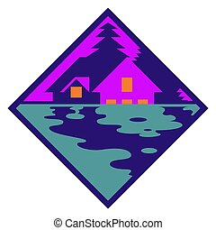 Vector house in the woods logo. Cabin in the forest silhouette logotype,