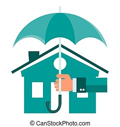 Vector house insurance concept in flat style - infographic desig