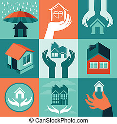 Vector house insurance - set of flat icons and banners