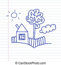 Vector house. Kids drawing style.