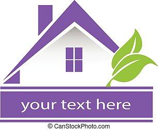 Vector house leafs logo card design