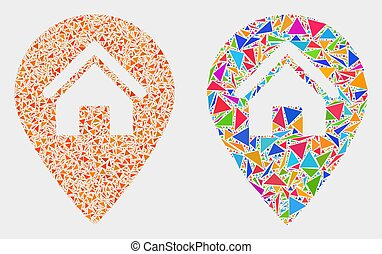 Vector House Map Marker Mosaic Icon of Triangle Elements