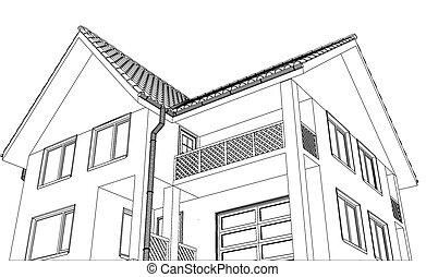 Vector house on the white background. Illustration created of 3d
