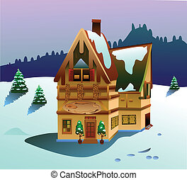 vector house on winter time