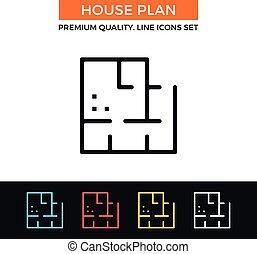 Vector house plan icon. Thin line icon