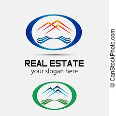 Vector house roofs icon, logo for