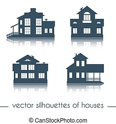 Vector house silhouettes on white background