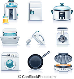Vector household appliances. P.3 - Set of the detailed ...