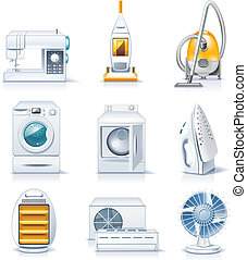 Vector household appliances. P.4 - Set of the detailed ...