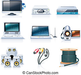 Vector household appliances. P.7 - Set of the detailed ...