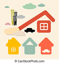 Vector Houses and Cars Symbols Set