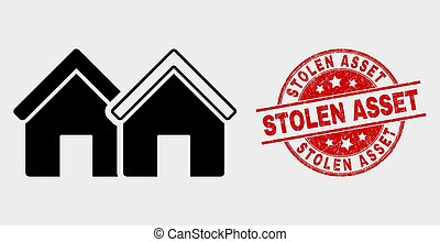 Vector Houses Icon and Grunge Stolen Asset Stamp