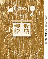 vector, hout, oud, telefoon, illustratie, achtergrond