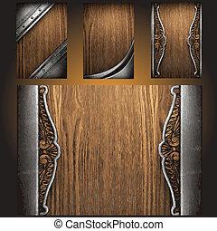vector, hout, set, metaal, achtergrond