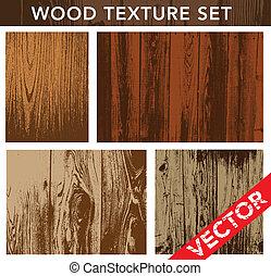 vector, hout, set, textuur