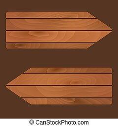 vector, houten, banieren, tekens & borden, raad, met,...