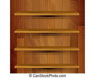 vector, houten, lege, realistisch, boekenkast