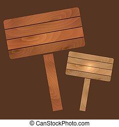 vector, houten, platen, tekens & borden, raad, met, textuur,...