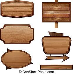 vector, houten, signboard, illustratie, meldingsbord, realistisch, hout, spandoek