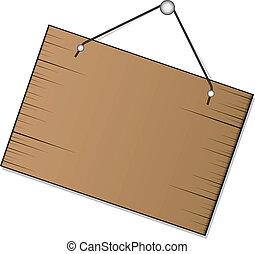 vector, houten teken, hangend