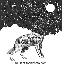 Vector howling wolf and night sky tattoo t-shirt print design