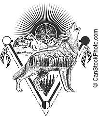 Vector howling wolf tattoo or t-shirt print design