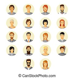 Vector human avatar set in modern flat style