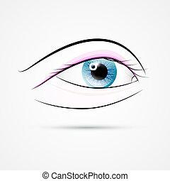 Vector Human Eye Isolated on Grey Background