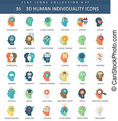 Vector Human mentality personality and individuality features color flat icon set. Elegant style design.