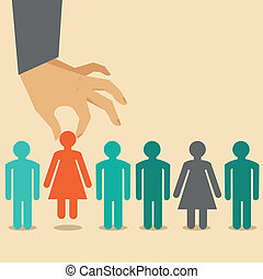 Vector human resources concept - hand holding woman icon -...