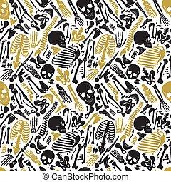 Vector human skeleton halloween black golden luxury seamless pattern with skulls and other various single human parts bones.