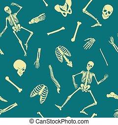 Vector Human skeleton seamless pattern with various single bones and skulls.