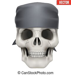 Vector Human skull with bandana on head