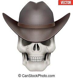 Vector Human skull with cowboy hat on head