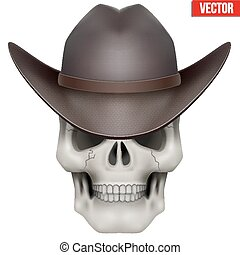 Vector Human skull with cowboy hat on head