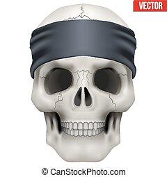 Vector Human skull with gangster bandana on head