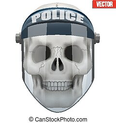 Vector Human skull with police protect mask on head