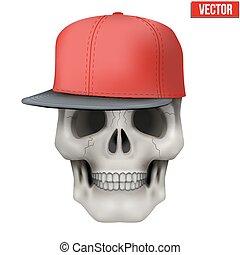 Vector Human skull with rap cap on head