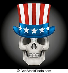 Vector Human skull with Uncle Sam hat on head