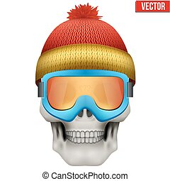 Vector Human skull with winter hat and goggles. Illustration on isolated white background