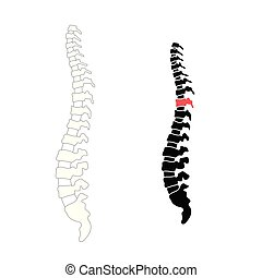 Vector human spine with pain isolated silhouette...