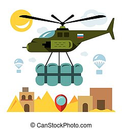 Vector Humanitarian aid in a war zone. Flat style colorful...