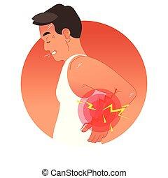 vector, humano, deportes, o, sobrecarga, injury., espalda, trabajo, torso., ilustración, concepto, doloroso