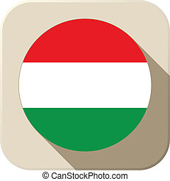 Hungary Flag Button Icon Modern