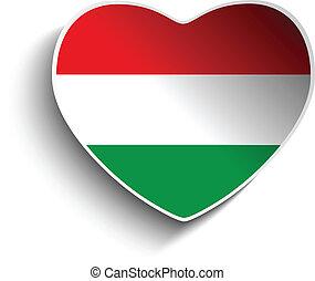 Hungary Flag Heart Paper Sticker
