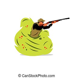 Vector Hunter man Cartoon Illustration. - A man with a gun...