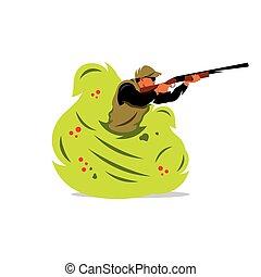 Vector Hunter man Cartoon Illustration. - A man with a gun...