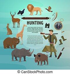 Vector hunting club open season safari poster